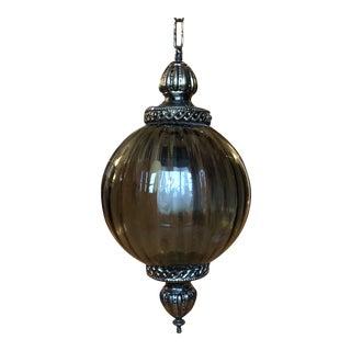 Vintage Gilded Pendant Glass Chandelier** For Sale