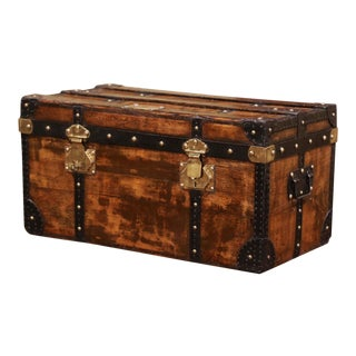 19th Century French Poplar, Iron and Brass Trunk Luggage From Dupont Paris For Sale