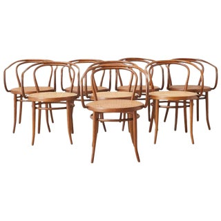 Thonet 209 Bentwood Cane Armchairs - Set of 8 For Sale