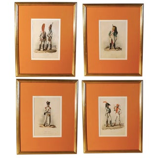 Early 19th Century Antique Napoleonic Era Costume Prints - Set of 4 For Sale
