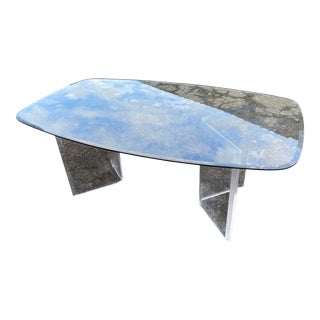 Modern Lucite Pedestal Table with Glass Top For Sale