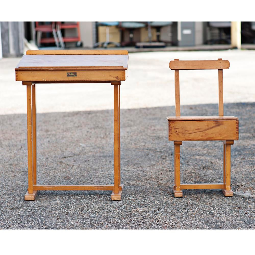 Mid Century Modern Vintage Student Desk And Chair Set For Sale   Image 3 Of
