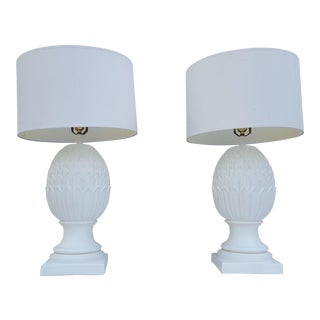 Vintage Hollywood Regency Artichoke Plaster Table Lamps - A Pair