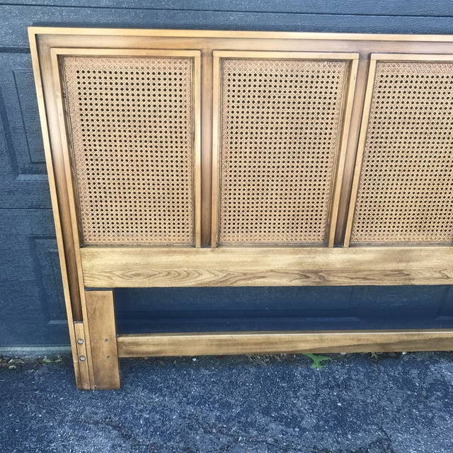 Mid-Century Modern Mid Century Walnut Caned Queen Headboard For Sale - Image 3 of 8