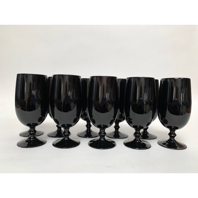 Carlo Moretti 1960s Carlo Moretti Black and White Cased Glass Goblets - Set of 10 For Sale - Image 4 of 12