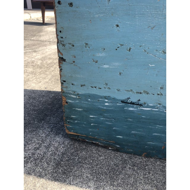 Folk Art 19th Century Painted Trunk From Maine For Sale - Image 4 of 12