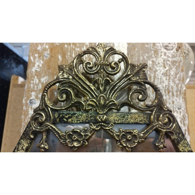 Metal Oscar Bach Marble Top Bronze Stand & Mirror - 2 Pc. Set For Sale - Image 7 of 9