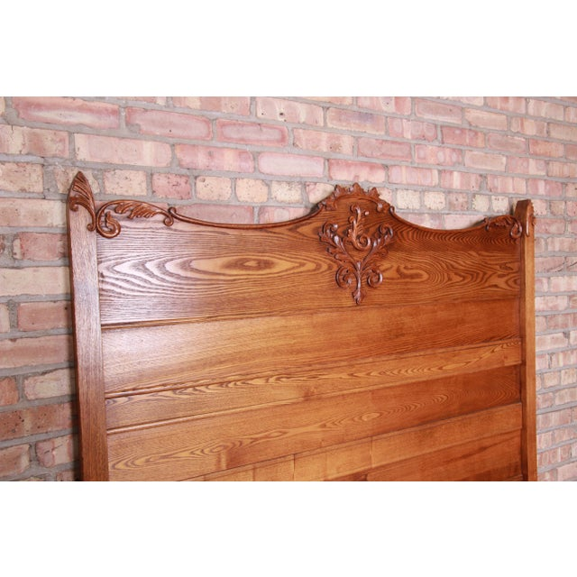 Brown Antique Carved Oak Full Size Bed, Circa 1900 For Sale - Image 8 of 9