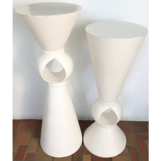 """Set of two sculptural white pedestal. Unusual and good quality. Smaller is D 16"""" x H 42""""."""