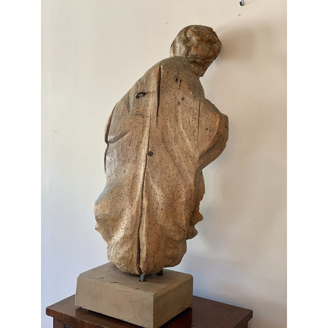 Wood Antique Carved Architectural Figure For Sale - Image 7 of 8