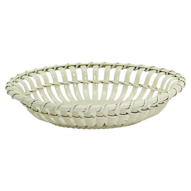 Antique Leeds Creamware Chestnut Basket For Sale