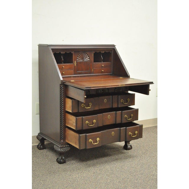 Chippendale Antique Style S Carved Gany Ball And Claw Drop Front Desk For