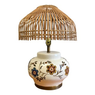 Vintage Hand-Painted Ceramic Table Lamp With Bamboo Shade