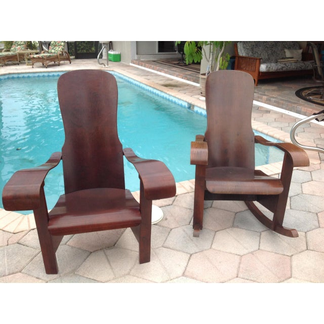 Móveis Cimo Brazil Wood Arm Chairs- A Pair For Sale - Image 9 of 9