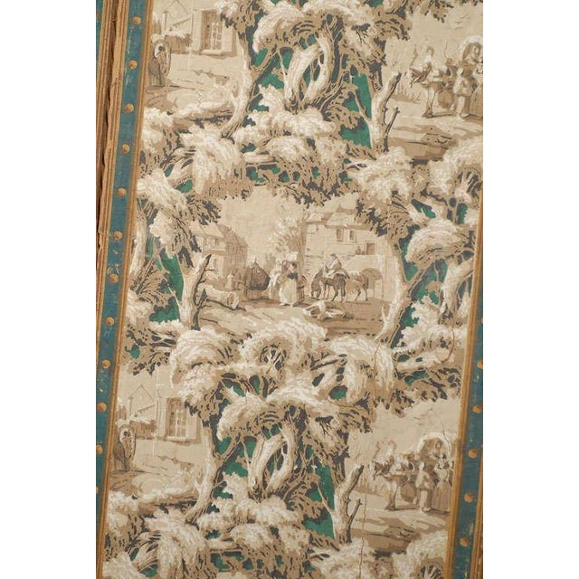 Canvas French 19th Century Zuber Style Four-Panel Paper on Canvas Screen For Sale - Image 7 of 11