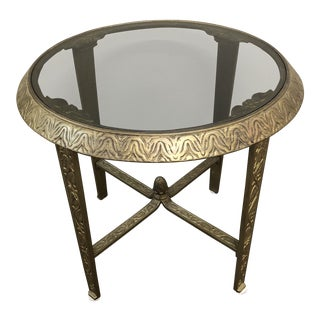 Mid-Century Gilded Metal Relief Table For Sale