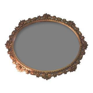 Vintage Gold Oval Carved Floral Mirror For Sale