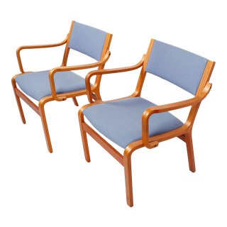 Pair of Bentwood Arm Chairs with Blue Upholstery (from Danish Embassy) For Sale