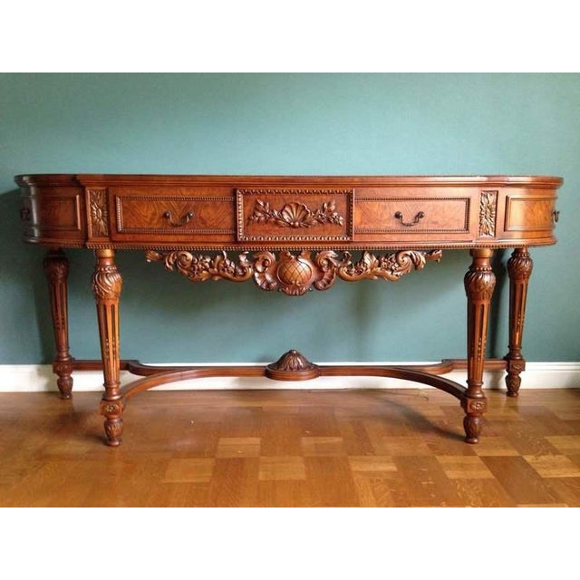 Queen Anne Style Walnut Veneered Console Table - Image 2 of 6