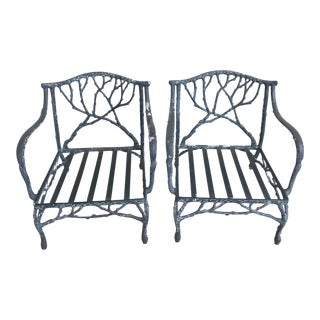 Early 20th Century Vintage Faux Bois Outdoor Club Chairs - A Pair For Sale