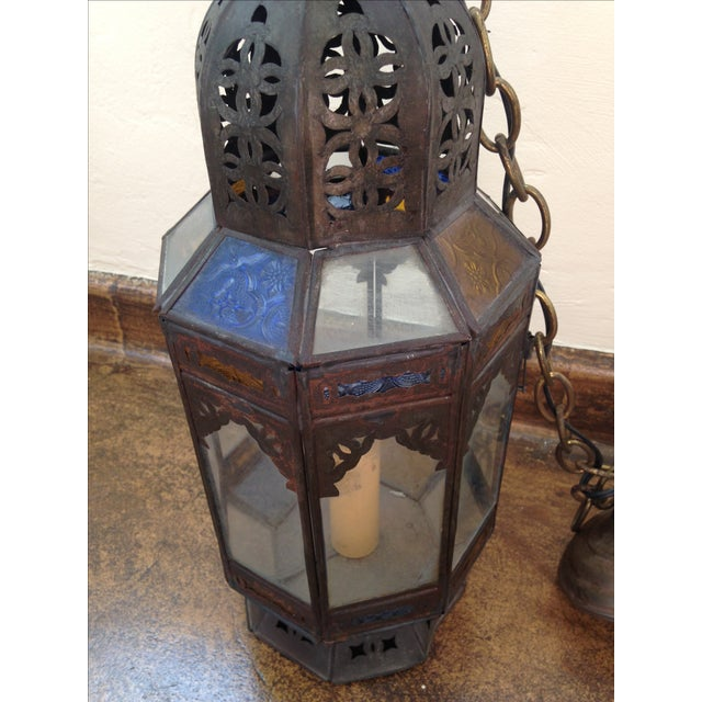 Stained Glass Moroccan Hanging Pendant Lantern - Image 3 of 3