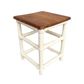 Restored White Painted Rattan Cocktail Side Table With Mahogany Top For Sale