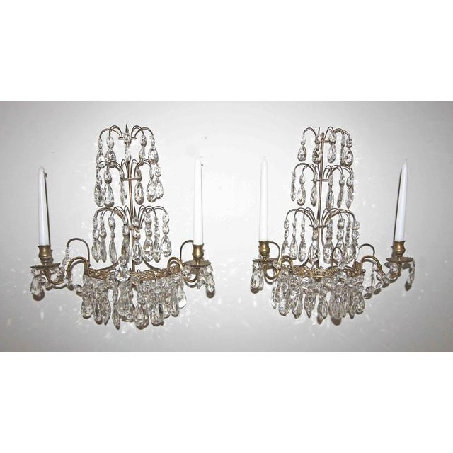 Mid-Century Modern 1920s Swedish Gustavian Style Crystal and Brass Candle Wall Sconces - a Pair For Sale - Image 3 of 11