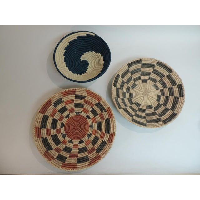 Vintage Tribal Colorful Round Baskets/Bowls - Set of 3 - Image 2 of 7