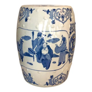 Chinese Hand Painted Blue & White Glazed Ceramic Garden Seat For Sale