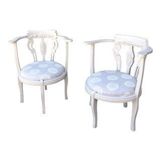 Late 20th Century Vintage Painted Wood Carved Chairs- A Pair For Sale