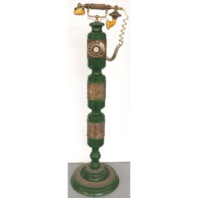 Green Retro Standing Floor Green Enamel & Brass Column Telephone For Sale - Image 8 of 8