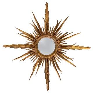 Unusual Early 20th Century Spanish Giltwood Small Starburst Sunburst Mirror For Sale