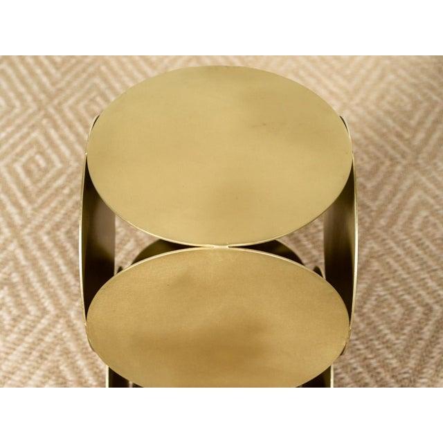 Modern Antique Brasstone Disk 'Lola' Modern Side Table For Sale - Image 3 of 5