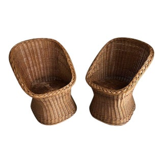 1970's Woven Wicker Basket Scoop Chairs - a Pair For Sale