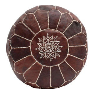 Modern Moroccan Chocolate Pouf For Sale