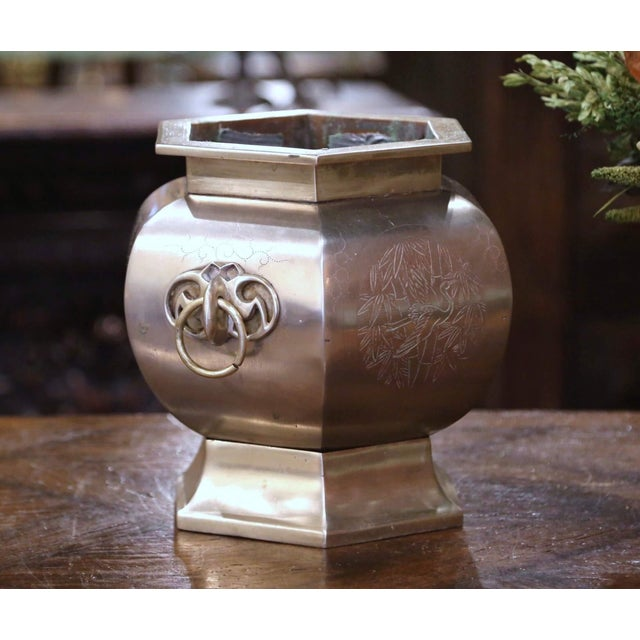 19th Century French Bronze and Silvered Engraved Planter With Floral Arrangement For Sale - Image 4 of 13