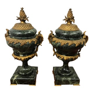 Marble Louis XVI Style Garnitures a Pair For Sale
