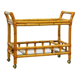 Vintage Colonial Style Bamboo Pole Glass Shelved Two-Tier Bar Cart, 20th Century For Sale