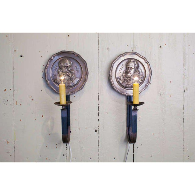 English Traditional Pair of Vintage Figural Pewter Sconces with Iron Arms For Sale - Image 3 of 3