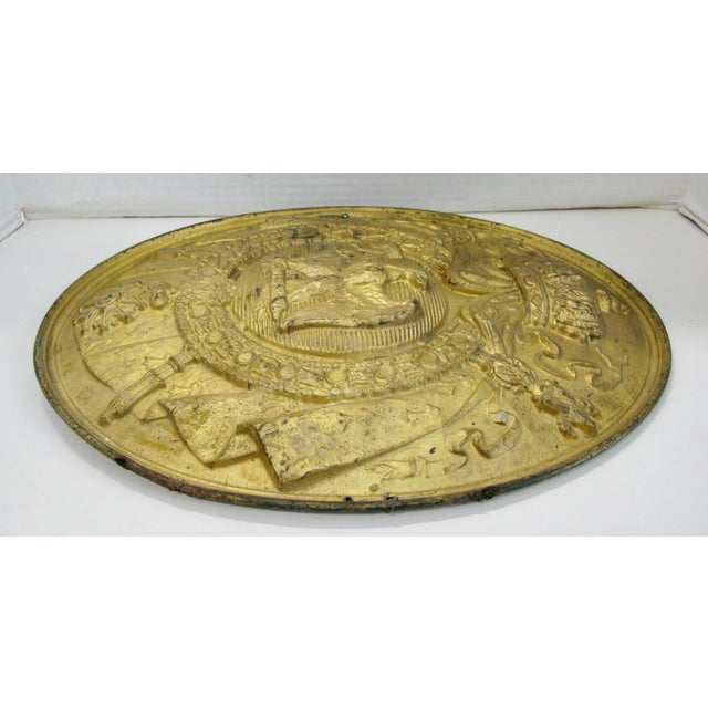 Antique French 1st Empire Brass Oval Notary Plaque For Sale - Image 9 of 13