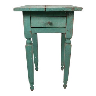 Green Painted Country One-Drawer Occasional Table or Nightstand For Sale