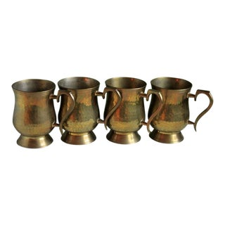 Vintage Brass Beer Mugs - Set of 4