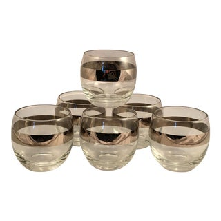 Set of 6 Mid-Century Space Satellite Silver Rim Cocktail Glasses For Sale