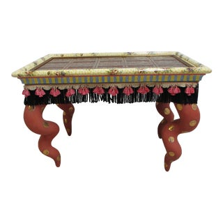 1980s Mackenzie Childs Embossed Copper Top Decorated Side End Coffee Table For Sale