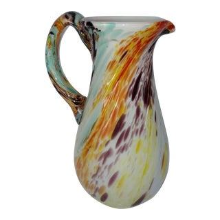 Vintage Murano Hand Blown Swirl Multicolored Hand Blown Pitcher
