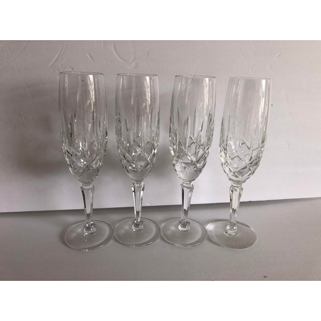 Glass Gorham Modern Crystal Fluted Champagne Glasses S-4 For Sale - Image 7 of 8