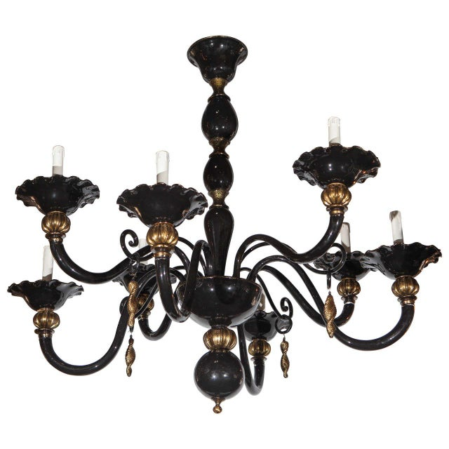 Black and Gold Venetian Chandelier For Sale - Image 9 of 9