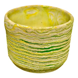 1960's Vintage Yellow and Green Swirl Planter For Sale