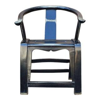 Black Lacquer Oriental Horse Shoe Curve Shape Accent Fusion Chair For Sale