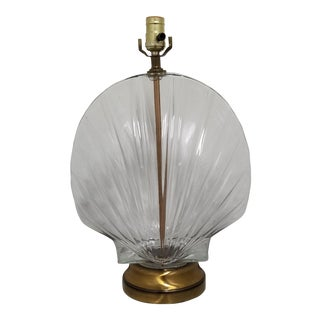 1970s Vintage Nautical Glass Shell Form Table Lamp For Sale